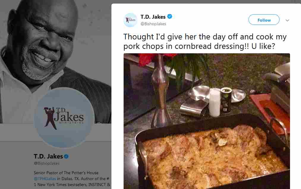 TD Jakes cooks and eats pork